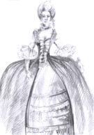 Obr 1: Ženský oděv období rokoka