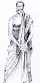 Obr 1: Mužský řecký oděv Himatio.
